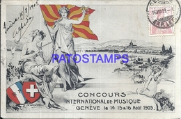 103532 SWITZERLAND GENEVE PATRIOTIC FLAG & HERALDRY CIRCULATED TO ARGENTINA POSTAL POSTCARD - Svizzera