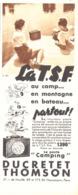 "PUB LE POSTE CAMPING   "" DUCRETET THOMSON ""   1937 - Radio & TSF"