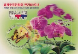 Korea 2018 Flowers Orchids Butterflies Praga Expo World Stamp Exhibition SS MNH - Schmetterlinge