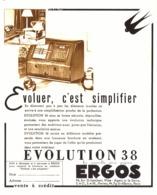 """PUB RADIO  EVOLUTION 30   """" ERGOS  """"  1937 - Appareils"""