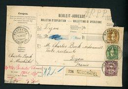SUISSE - N° Yvert 80 + 77 + 70  SUR BULLETIN D'EXPEDITION DE NEUCHATEL DU 14/IV/00 POUR LA FRANCE (DIJON) - 1882-1906 Armarios, Helvetia De Pie & UPU