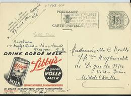 Publibel Obl. 1244  ( Drink Goede Melk ; Vache - Lait)  Obl. Bxl  1954 + Flamme  Tourisme-hôtellerie - Stamped Stationery