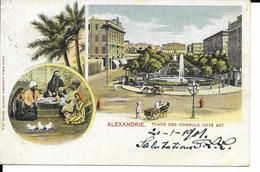 ALEXANDRIE   PLACE DES CONSULS COTE EST     ECRITE 1901 - Alexandrie