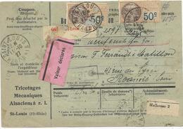 BULLETIN DE COLIS POSTAL 1927 DE ST LOUIS EN VALEUR DECLAREE  AVEC 14 TIMBRES  ET 2 TIMBRES FISCAUX - Elsass-Lothringen