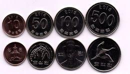Korea South - Set 4 Coins 10 50 100 500 Won 2015 - 2016 UNC Ukr-OP - Coreal Del Sur