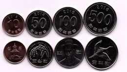 Korea South - Set 4 Coins 10 50 100 500 Won 2015 - 2016 UNC Ukr-OP - Korea (Zuid)