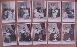 11/165-2 Séries Se Suivant Couple & Bébé L'arrivée(5cp) Et Les Premiers..(5cp). 10 Cp 1° Tirage - Couples