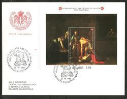 1992 SOVRANO ORDINE DI MALTA SMOM  Foglietto Fdc Viaggiata, Bellissima - Malte (Ordre De)