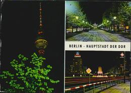 MBK Berlin Hauptstadt Der DDR, Fernsehturm, Brandenburger Tor, Strausberger Platz, 1983 Gelaufen, 14,7 X 10,5 Cm 2 Scans - Mitte