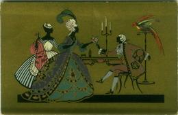 AINICHINI SIGNED 1920s POSTCARD - SILHOUETTE COUPLE & PARROT - EDIT BALLERINI & FRATINI  N. 125 (BGI12) - Künstlerkarten