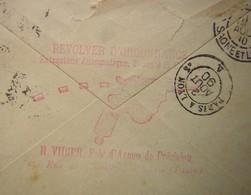 1890 Publicité Pour Un Révolver D'ordonnance H Vidier, Fabricant D'armes De Précision à Paris Au Revers D'une Lettre - Marcophilie (Lettres)