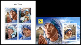 CENTRAL AFRICA 2018 **MNH Mother Teresa Mutter Teresa Mere Teresa M/S+S/S - IMPERFORATED - DH1845 - Mère Teresa
