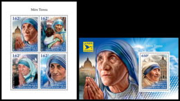 CENTRAL AFRICA 2018 **MNH SMALL Mother Teresa Mutter Teresa Mere Teresa M/S+S/S - IMPERFORATED - DH1845 - Mother Teresa
