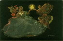 AINICHINI SIGNED 1920s POSTCARD - GLAMOUR LADY & ANGELS & CUPID - EDIT BALLERINI & FRATINI  N. 351 (BGI15) - Künstlerkarten