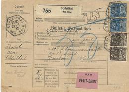 BULLETIN DE COLIS POSTAL 1932 DE SCHLEITHAL SANS TIMBRE FISCAL AVEC 4 TIMBRES TYPE FEMME FACHI EXPO COLONIALE - Alsace Lorraine