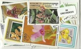 """Lot 50 Timbres Thematique """" Orchidées """" - Orchids"""