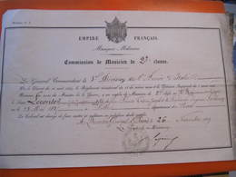 EMPIRE FRANCAIS - COMMISSION DE MUSICIEN DE 2° CLASSE - QUARTIER GENERAL DE PAVIE 1859 - Documents