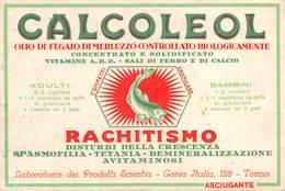 """08839 """"TORINO - LABORATORIO DEI PRODOTTI SCIENTIA - CALCOLEOL - OLIO FEGATO MERLUZZO"""" CARTA ASSORBENTE ORIG. - Alimentare"""