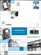 80 AÑOS RADIO NACIONAL ENTERO ENTIER REPUBLICA ARGENTINA AÑO 2017 TRES BON ETAT UNUSED - Télécom