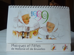 Calendrier à Poser - 1999 - Masques Et Fêtes De Wallonie Et De Bruxelles - Communauté Française De Belgique - Calendriers