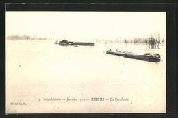 CPA Bezons, La Porcherie, Inondations - Janvier 1910 - Bezons