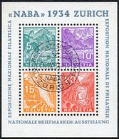 SCHWEIZ 1934, BLOCK 1, NABA MIT SONDERSTEMPEL, ECHT MIT ATTEST, Mi. 750,- TOPP! - Bloques & Hojas