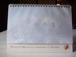 Calendrier à Poser - 2001 - Wallonie - Bruxelles  Contrastes Et Paysages- Communauté Française De Belgique - Calendriers