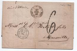 """1866 - LETTRE De TUNISI / POSTE ITALIANE Pour MARSEILLE Avec CACHET D'ENTREE """"ITALIE AMB. LYON MARS. E"""" - 11. Foreign Offices"""