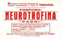 "08841 ""FIRENZE - ISTITUTO FARMACO-BIOLOGICO RAFFAELLO PAGNI - NEUROTROFINA - FOSFORO"" CARTA ASSORBENTE ORIG. - Food"