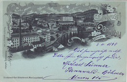 612/ Gruss Aus Tannwald Böhmen, 1898. Litho - Tsjechië
