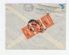 Sur Enveloppe Trois Timbres Haïti 3 C. Orange. CAD Jacmet 1936. CAD Destination Port Au Prince. Publicité Café. (874) - Haïti
