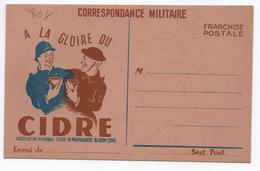 """RARE CARTE DE FRANCHISE MILITAIRE- PUBLICITE ALCOOL """"A LA GLOIRE DU CIDRE"""" ASSOCIATION NATIONALE PROPAGANDE DU BON CIDRE - Marcophilie (Lettres)"""