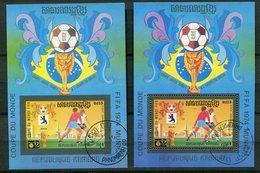 Rep Khmère Ob  2 Blocs  -  Dents Figurés  Et ND  Coupe Du Monde FIFA 1974 Munich - Kampuchea