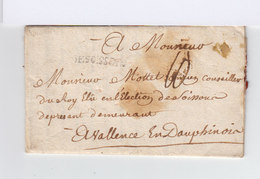 Marque Postale Desoissons Taxée. Destination: Valence En Dauphinois. Avec Correspondance. (875) - Marcophilie (Lettres)