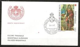 1987 SOVRANO ORDINE DI MALTA SMOM  Fdc Viaggiata, Bellissima - Malte (Ordre De)