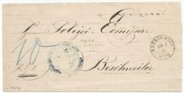 H679 - ROESCHWOOG Pour BISCHWEILER - 1876 - Entête Mairie De FORT LOUIS - - Poststempel (Briefe)
