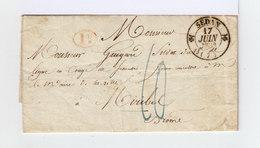 Marque Postale Sedan 1833. Taxée. Cachet Rouge I D. CAD Destination Bleu Romans. Avec Correspondance. (877) - Marcophilie (Lettres)