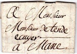 Lettre Envoyée De CHATEAU .. 1783   à MANE - Marcofilie (Brieven)
