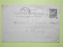 Carte Postale écrite RAFFAITIN à CHAMPLEMY 30 Juin 1897 Oblitérée CHAMPLEMY & PREMERY (58) - Entier Type Sage Noir 10c - Entiers Postaux