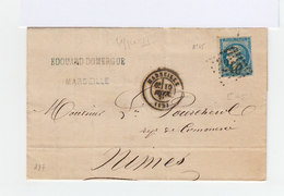 Sur Lettre Avec  Correspondance Type Céres 25 C. Bleu Type II R.2. CAD Marseille. (878) - 1849-1876: Période Classique