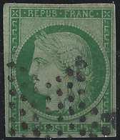 """France 1849 - 1850 Céres N°2, 15 C Vert  """"couleur Caractéristique"""" Oblitéré étoile Muette De Paris Signé Brun - 1849-1850 Ceres"""