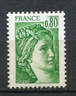 9659  FRANCE  N°1970 C  ** (n° Yvert)  80c Vert Sabine (gomme Tropicale , Sans Bande Phosphorescente)  1977  TTB - 1977-81 Sabine De Gandon