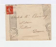 Sur Enveloppe Type Semeuse 10c. Rouge CAD Paris 26. R. Du Faubourg St Denis. 7 Lignes Parallèles. (879) - Marcophilie (Lettres)