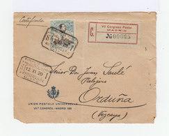 Sur Enveloppe Effigie Alphonse XIII 50 C. Bleu 7ème Congrés UPU CAD Rectangulaire Recommandé 1920. (880) - Marcophilie - EMA (Empreintes Machines)