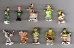 Lot 10 Fèves Brillantes SHREK Différentes Séries - Cartoons