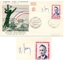 FDC 1959 - FRANCE - Héros De La Résistance Gaston Moutardier YT 1202 Signé Raoul Serres (dessinateur) (Réf 18-236) - FDC
