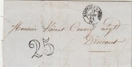 Lettre Cachet CASTRES Tarn 27/6/1854 Taxe Double Trait 25 Pour Drucourt Eure Par Thiberville Passe Paris - Marcofilie (Brieven)