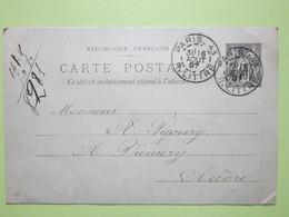 Carte Postale écrite à PARIS MONTPARNASSE Le 16 Août 1897 Oblitérée PARIS & PREMERY (58) - Entier Type Sage Noir 10c - Entiers Postaux