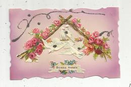 Cp ,  BONNE  ANNEE  ,fleurs  ,dentelée ,carte à Rajout  ,écrite , Colombes - Anno Nuovo
