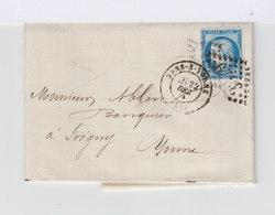 Sur Lettre Type Céres 25 C. Bleu Type III Oblitéré Losange. CAD Sens Sur Yonne 1874. CAD Joigny. (881) - Marcophilie (Lettres)